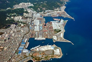 The Hyundai Heavy Industry shipyard, in Ulsan, South Korea, is one of the three largest in the world. Several hundred ships of all sizes and shapes are produced here annually. (Click to view larger version...)