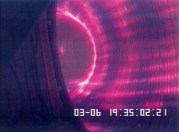 A plasma in the Tore Supra tokamak, operational since 1988 at the CEA Cadarache research facility in southern France. (Click to view larger version...)