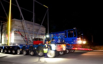 At approximately 4:00 a.m. on 20 September, the ITER test convoy crosses the roundabout in front of the ITER site. (Click to view larger version...)