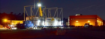 A job well done. The 800-ton trailer rolls to a halt on the ITER platform after four consecutive nights of travel. (Click to view larger version...)