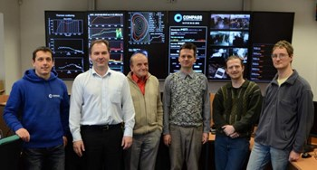 The core of the team behind (and in front of) H-mode success: from left to right, Filip Janky (tokamak control systems), Radomír Pánek (head of the Tokamak department), Jan Stöckel (senior physicist), Vladimír Weinzettl (plasma diagnostics), Jozef Varju (neutral beam), and Josef Havlíček (shift operator). (Click to view larger version...)