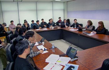 During they five-day mission to Korea, Joëlle (centre) and Sandrine shared information on safety regulations and licensing procedures with their Korean colleagues and proceeded with an internal safety inspection on the ongoing work at Hyundai Heavy Industries. (Click to view larger version...)
