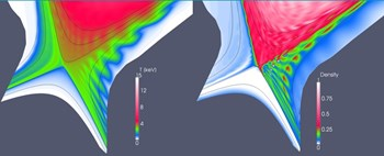 JOREK simulation of the plasma temperature (left) and density profiles (right) during an ELM in ITER, showing conductive losses in the perturbed magnetic field (left) and expulsion of plasma filaments (right) [G. Huijsmans, IAEA Conference 2012] (Click to view larger version...)