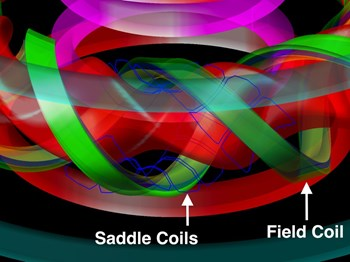 A simulated plasma in the Large Helical Device showing the thin blue saddle coils that researchers used to make diagnostic measurements with the new computer code. (Click to view larger version...)