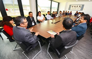 After touring the construction site, Ambassador Pandey met with the Indian staff members (29 persons presently) to discuss their experience at ITER and in France. (Click to view larger version...)