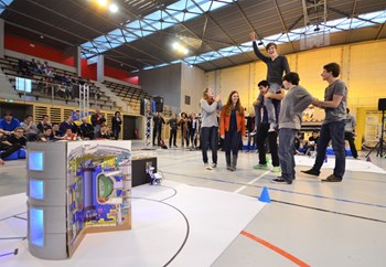 Victory is sweet: the high school team from Lycée Thiers in Marseille savours the reliable performance of its robot, baptized Bip-Bip. (Click to view larger version...)