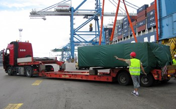 The crates containing the first batch of ITER goods delivered by ITER China to the European Domestic Agency were unloaded in the early hours of 3 June at Fos-sur-Mer, near Marseille ... (Click to view larger version...)