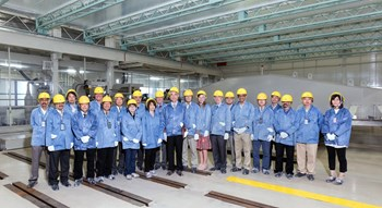 Here, in Mitsubishi Heavy Industry's Futami facility, the first toroidal field coil will be wound and integrated. Pictured: participants to Unique ITER Team activities in Japan in June. (Click to view larger version...)