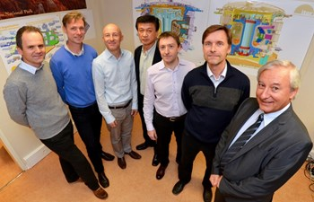 The area managers, from left to right: Bruno Levesy (port cells and neutral beam cell), Jens Reich (Tokamak and Pit), Ingo Kuehn (Tokamak and Diagnostic buildings), Gun Woo Nam (ITER Organization systems in nuclear buildings), Giovanni Di Giuseppe (Tritium Building and interface structure), Miika Kotamaki (auxiliary buildings) and Jean-Jacques Cordier (Building Integration Cell leader). (Click to view larger version...)