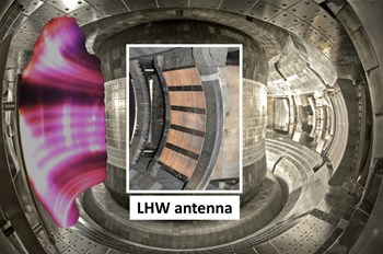 The EAST tokamak is located in Hefei, China at the Institute of Plasma Physics, Chinese Academy of Sciences. First plasma was achieved in EAST in September 2006. EAST incorporates fully superconducting coils with ITER-like magnetic configurations, which allows the exploration of plasmas over long timescales to address plasma physics and technology issues for ITER under steady-state operation conditions. The photograph shows the interior of the EAST tokamak (right) and the helical structures created by lower hybrid microwaves that lead to ELM control (left); the lower hybrid antenna is shown in the centre. (Click to view larger version...)