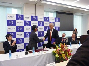 The Memorandum of Understanding was signed on the afternoon of 24 December 2013 by ITER Director-General Osamu Motojima and Susumu Satomi, president of Tohoku University. (Click to view larger version...)