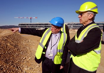 Impressed by the ITER worksite, Director-General of the French police force Claude Baland, right (here with ITER Head of Communication Michel Claessens), confided that he would gladly apply for an internship at ITER if he had more time. (Click to view larger version...)