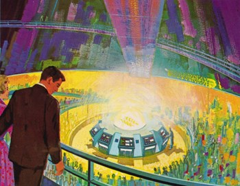 ''After a countdown, brilliant flashes of light and a loud popping crack would signify that GE was successful in tapping into the nuclear science of sun building,'' writes a Disney historian, recalling the magic of the Fusion Demonstration experience. (Click to view larger version...)