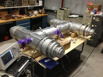 Future tests will assess the performance of hybrid power splitters, such as the above prototype, which are used to protect RF transmitters from reflected power. Photo: US ITER (Click to view larger version...)