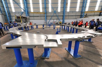 The party of journalists also toured the CNIM manufacturing near Toulon (La-Seyne-sur-Mer) where series production has started on the huge radial plates for the toroidal field coils. (Click to view larger version...)