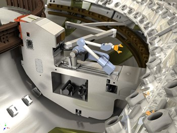 A 3D image of the remote handling system for the ITER divertor. Credit: Assystem (Click to view larger version...)