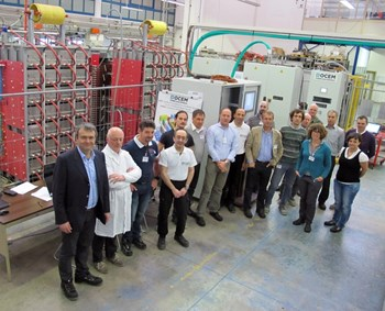 Representatives of the ITER Organization, the European Domestic Agency, OCEM, Himmelwerk, and Consorzio RFX (host to the PRIMA facility) were present for the final tests. (Click to view larger version...)