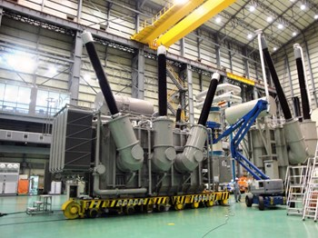 The United States is providing 75 percent of the steady state electrical network components, like this large high-voltage transformer. All of these components have to be installer by October 2015, when the site power demand will exceed the capacity of the temporary 15 kV supply line now in use. (Click to view larger version...)