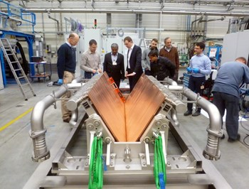 The SPIDER beam dump is the first component delivered by the Indian Domestic Agency to the PRIMA neutral beam test bed in Padua, Italy. (Click to view larger version...)