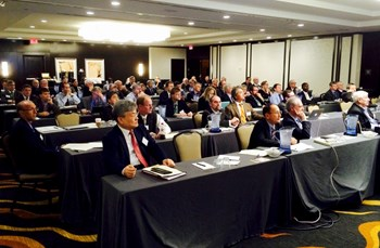 Over 40 talks were presented by scientists and government officials at the annual meeting of Fusion Power Associates in Washington D.C. on 16 and 17 December 2014. Sitting front row are Gyung Su Lee, from Korea's National Fusion Research Institute (first left) and Carlos Alejaldre, ITER Director of Safety, Quality & Security (third left). (Click to view larger version...)