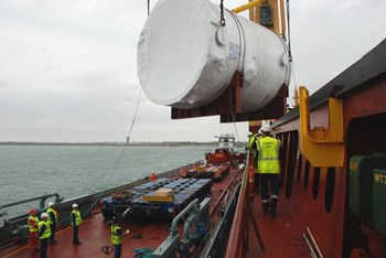 The first two drain tanks for ITER's Tokamak Cooling Water system embarked for their transatlantic voyage from Camden, New Jersey on 17 March. They arrived in Fos-sur-Mer on 26 April 2015. (Click to view larger version...)