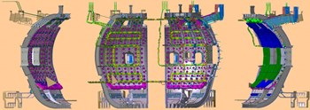 The ITER in-vessel configuration, representing (from left to right) the in-vessel diagnostics, the in-vessel coils, the blanket manifolds and the blankets. (Click to view larger version...)