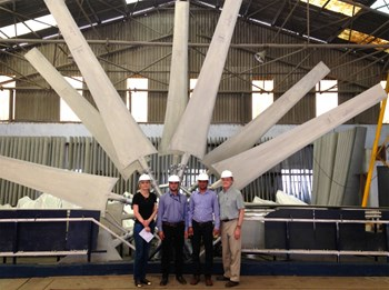 ITER Organization staff Liliana Teodoros and Steve Ployhar along with ITER-India engineers Lalit Sharma and Jinendra Dangi at Paharpur Cooling Towers manufacturing facility near Kolkata in India. (Click to view larger version...)