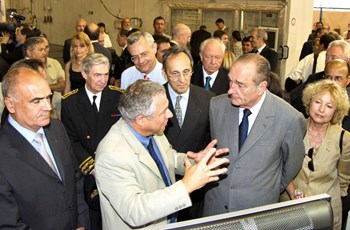 On 30 June, two days after the decision, French President Jacques Chirac was in Cadarache to celebrate the momentous event. From left to right, first row: Alain Bugat, Administrator-General of the French Atomic Energy Authoriy (CEA); Michel Chatelier head of the Fusion Research Department at CEA-Cadarache (DRFC); President Chirac; Pascale Amenc-Antoni, director of CEA-Cadarache. Second row: Christian Frémont, regional préfet; Jean-Louis Bianco, president of the Alpes-de-Haute-Provence département; Bernard Bigot, High Commissionner for Atomic Energy and Jean-Claude Gaudin, Mayor of Marseille and vice-president of the French Senate. (Click to view larger version...)