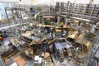 With the successful completion of the testing of all seventy magnetic coils, the functionality of the key technological components for the Wendelstein 7-X fusion experiment is assured. Later this year, the device should produce its first plasma. (Click to view larger version...)