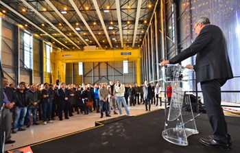''ITER has acquired a concrete and spectacular reality,'' said Bernard Bigot in his all-staff address on 21 January 2016. ''This building is ITER. These steel parts are ITER. Most important of all—you are ITER!'' (Click to view larger version...)