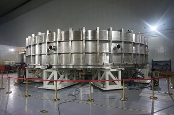 The 350-ton, 10-metre coil will be leak tested in this vacuum chamber. (Click to view larger version...)