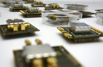A sample of the electronic chips stemming from the collaboration between the European Domestic Agency, Oxford Technologies, and the Katholieke Universiteit of Leuven (KU Leuven). (Click to view larger version...)