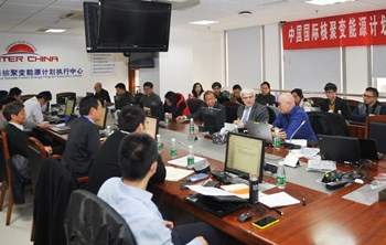 On 3-4 March 2016, the kick-off meeting for the Helium-Cooled Ceramic Breeder Test Blanket System (HCCB-TBS) brought together members of the Chinese Domestic Agency and experts from the Chinese institutes involved in the development program. The ITER Organization was represented by Luciano Giancarli, leader of the Tritium Breeding Blanket Systems Section, and by Jaap Van Der Laan, technical responsible officer of the HCCB-TBS TBM Arrangement. (Click to view larger version...)
