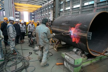 Welding has begun in Korea on the first column segments for the 800-tonne Sector Sub-Assembly Tool. (Click to view larger version...)