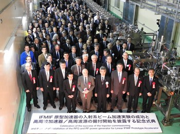 Policy makers and scientists attend the recent installation ceremony of LIPAc in Rokkasho, Japan. LIPAc is the prototype accelerator of the International Fusion Materials Irradiation Facility (IFMIF) that will produce a neutron flux similar to that expected in a fusion reactor. (Click to view larger version...)