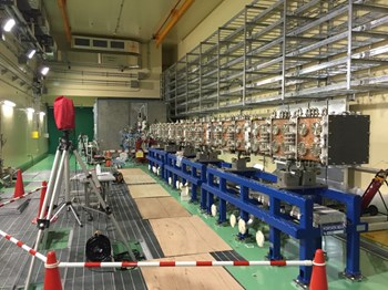 The radiofrequency quadrupole and injector in position in Rokkasho, Japan. (Click to view larger version...)