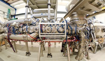 The main facility in DIFFER's Plasma Surface Interactions laboratory is Magnum-PSI, a linear plasma generator equipped with a superconducting magnet to allow for continuous exposure. Photo: Bram Lamers / DIFFER (Click to view larger version...)