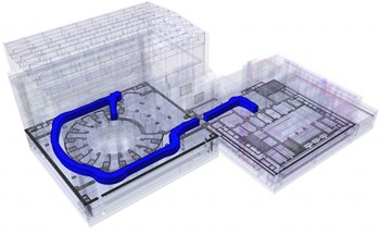 The cask and plug remote handling system is challenging to design due to the limited space in the environment of the tokamak, complex trajectories over multiple levels, and a nuclear environment. In blue: a sample trajectory between the Tokamak Building (left) and the Hot Cell Facility. (Click to view larger version...)