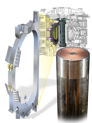A drawing of single toroidal field coil shows the scale of the ITER Tokamak. Right: The compacted cable of superconducting strand is visible around the helium cooling channel in the middle of the completed conductor. Source: US ITER (Click to view larger version...)