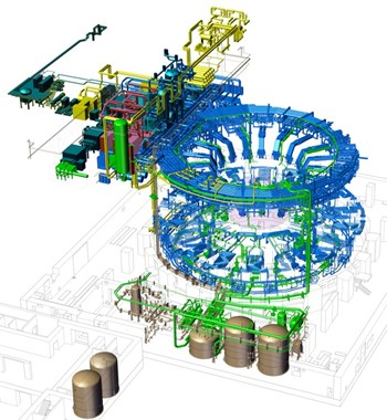 The tokamak cooling water system will manage the heat generated during operation of the Tokamak. The system includes 36 km of piping. Illustration: US ITER (Click to view larger version...)