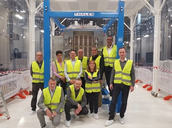 Representatives of the European Domestic Agency, Thales and RFX Consorzio pose in front of the SPIDER beam source, which was delivered late October. The testbed is scheduled to begin operating in April 2018. ©Thales (Click to view larger version...)