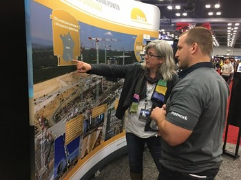 The ''international effort to build a Sun on Earth'' held its own among the high-tech stands of South by Southwest. Pictured is Lynne Degitz from US ITER. (Click to view larger version...)