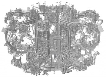 This CAD model shows all the intricate details of Wendelstein 7-X's future water cooling system. Image: IPP (Click to view larger version...)