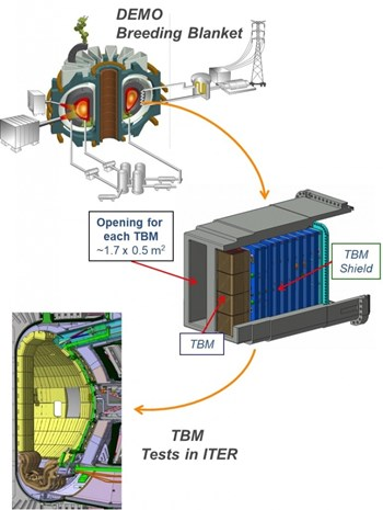 ITER's in-vessel test blanket modules are designed to represent the main features of a DEMO tritium breeding blanket—e.g., geometry, configuration of breeder/multiplier, temperature, pressure, and process flows including cooling and tritium extraction. The final objective is to provide enough information to successfully design, qualify and operate a breeding blanket and associated systems in DEMO. (Click to view larger version...)