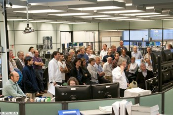 Eyewitnesses in the JET control room following the first plasma in eighteen months. (Click to view larger version...)