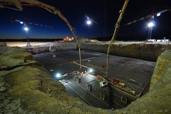 At 5:00 a.m. on Tuesday, 9 August, operations began on the Seismic Pit basemat. (Click to view larger version...)
