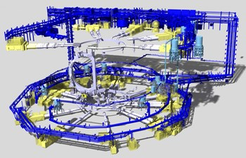 A complex system of cryolines and cold boxes will distribute the cooling power generated by the ITER cryoplant to clients throughout the installation. (Click to view larger version...)