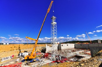 The ground support structure and seismic isolation system for the ITER Tokamak was put in place between August 2010 and August 2014. (Click to view larger version...)