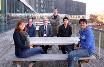 David Campbell, Director of the ITER Science and Operations Department, amid the current Monaco Postdocs: Stephanie Panayotis from France, Wouter Dekeyser from Belgium, Christian Vorpahl from Germany, Chao Zhou from China and Doohyun Kim from Korea. (Click to view larger version...)