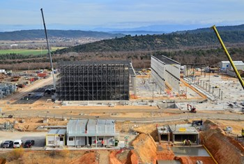 On site, the hot and cold basins, the water cooling pump station, the heat exchange zone and the water treatment facility have all been handed over to the ITER Organization for equipment installation activities. (Click to view larger version...)
